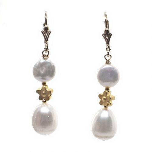 Small coin pearl and flower earrings