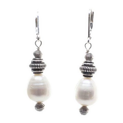 Pearl and sterling silver cap earrings