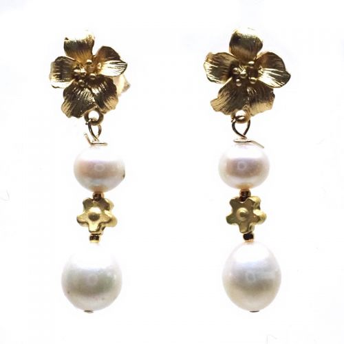Pearl and lily earrings