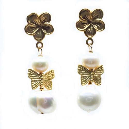 Dogwood and pearl earrings