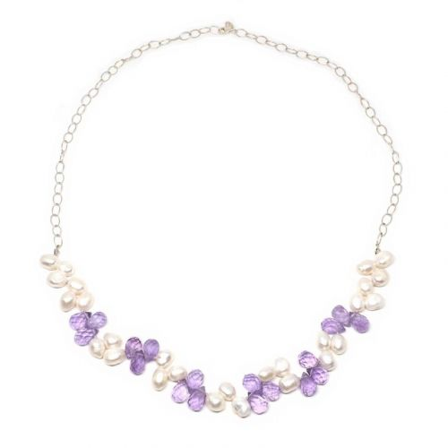 Amethyst and pearl briolette necklace