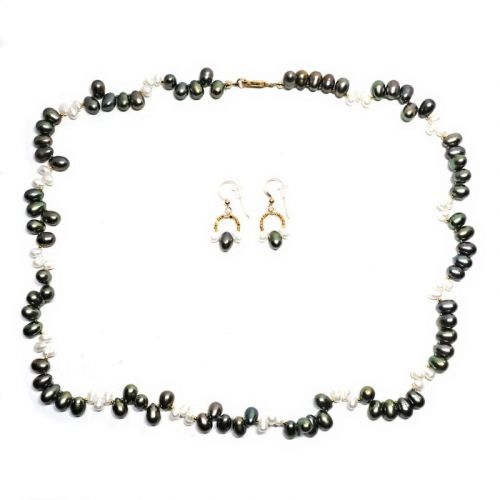 Moss Pearl necklace and earrings