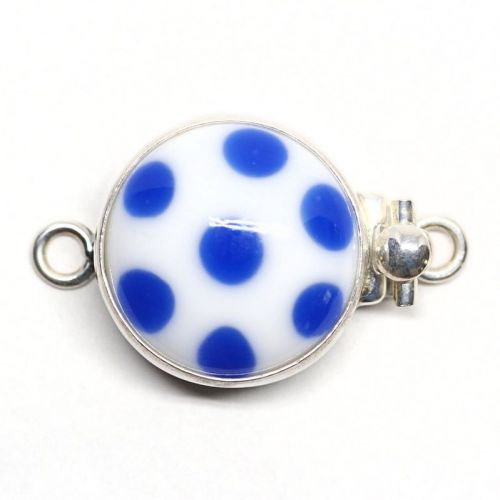 Blue and white polka dot clasp