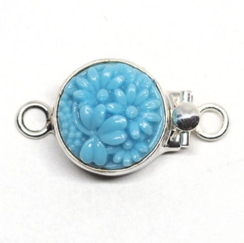 Round turquoise flower clasp