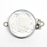 Round white rose clasp