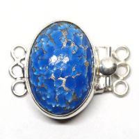 Sea blue and silver triple-strand box clasp