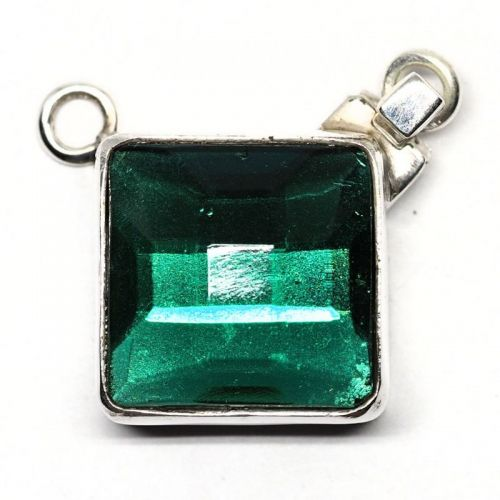 German emerald glass pendant clasp