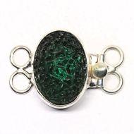 Sideways emerald pebble clasp