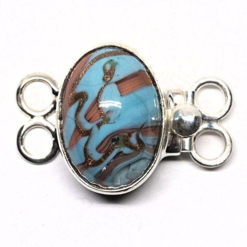 Oval blue swirl bracelet clasp