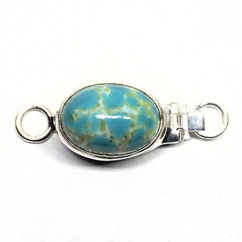 Glass faux turquoise clasp