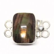 Rectangular brown pearl bracelet clasp