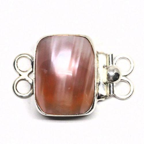Rectangular pink pearl bracelet clasp