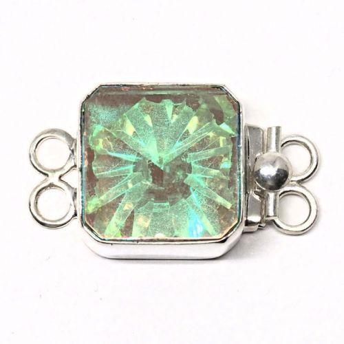 Large Swarovski crystal AB square clasp