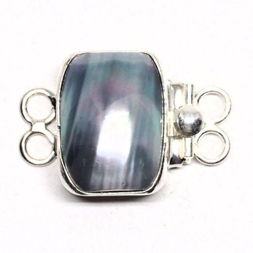 Rectangular gray pearl bracelet clasp