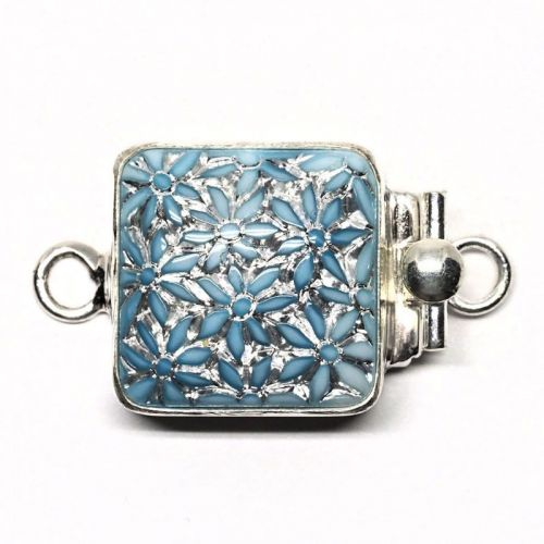 Silvery blue flower clasp