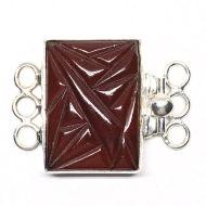 Rectangular carnelian bracelet clasp