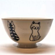 Black and white cat rice bowl