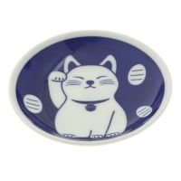 Blue good fortune cat sauce dish