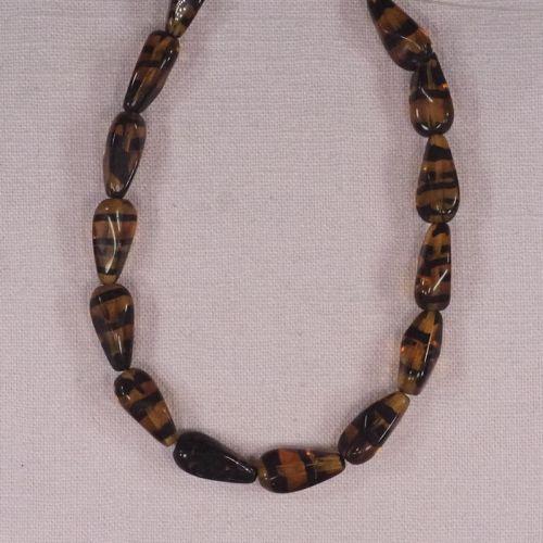 Amber zebra stripe random teardrop beads