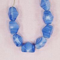Blue and white hexagonal beads