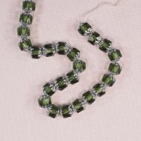 Olive green and silver cathedral beads
