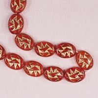 Red lozenge beads with gold