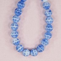 10 mm round vintage German blue glass beads