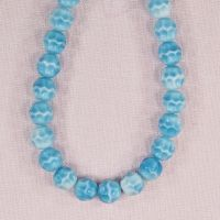 8 mm round vintage turquoise and white German glass beads