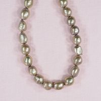 10 mm to 12 mm oval grey-green pearls