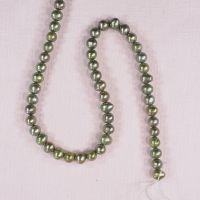 8 mm by 8 mm lustrous moss green potato pearls