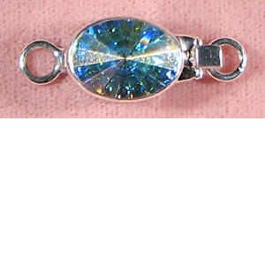 Silver crystal aurore boreale clasp