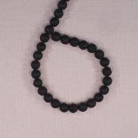 8 mm round black lava beads
