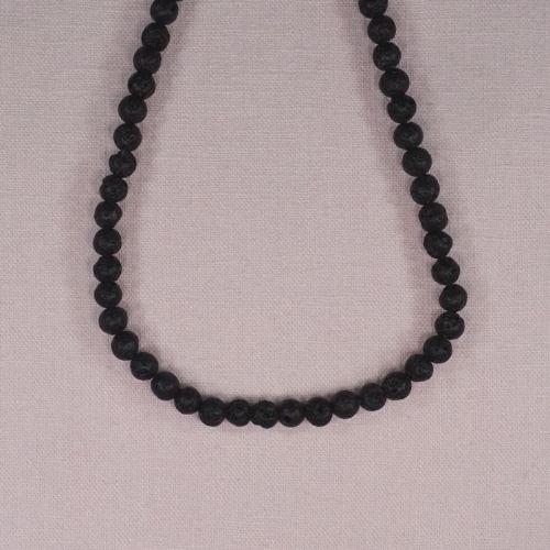 6 mm round black lava beads