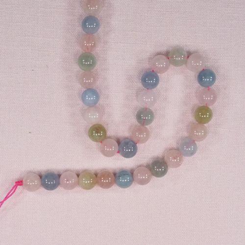 8 mm round morganite beads