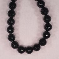 16 mm faceted round black onyx beads