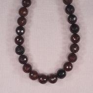 12 mm faceted round poppy jasper beads