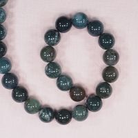 14 mm round moss agate beads